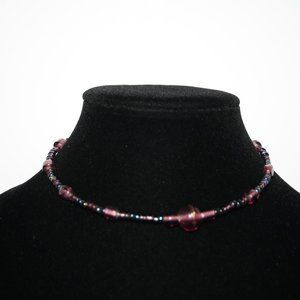 Purple glass wire choker necklace